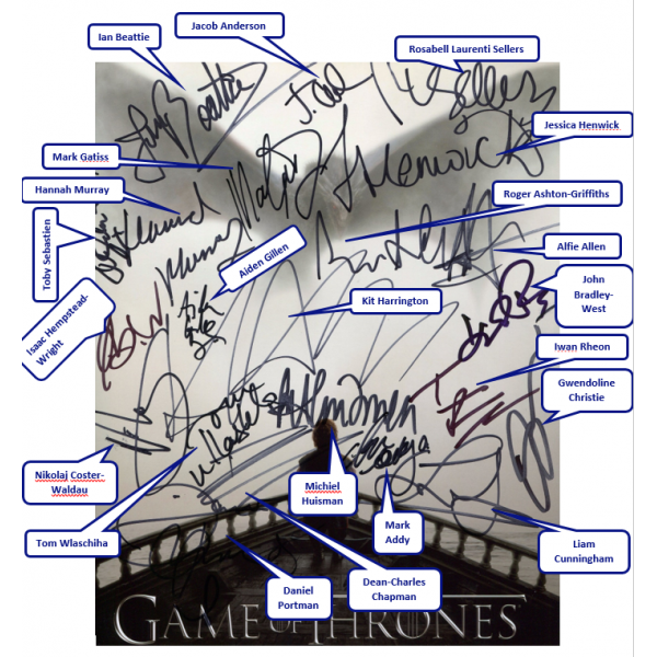 Game Of Thrones AUTOGRAPH by 22 Cast SIGNED IN PERSON ...