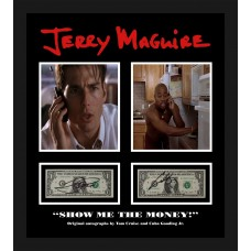 Tom Cruise & Cuba Gooding Jnr AUTOGRAPH Jerry Maguire SIGNED IN PERSON Dollar Bill Display