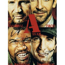 A-TEAM signed by 4 SIGNED IN PERSON 10 x 8 photo Liam Neeson, Quinton Jackson, Sharlto Copley & Joe Carnahan.